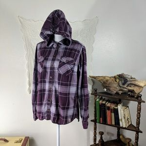 Carhartt purple plaid flannel button up hoodie